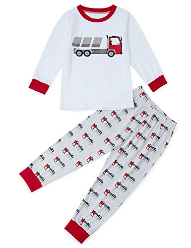 Funnycokid Boys Pajama Set Little Boys' Truck Nightwear Long Sleeve Sleepwear