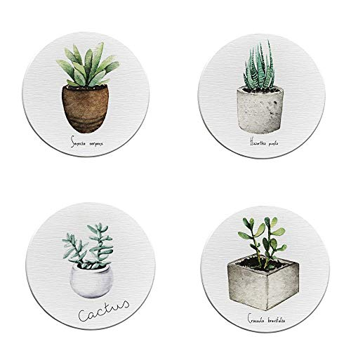 Penxina Absorbent Coasters For Drinks, Ceramic Stone Coasters Set Suitable for Kinds of Mugs and Cups, Protect Your Furniture from Stains,Coffee, Cute Plant Pattern, Set of 4