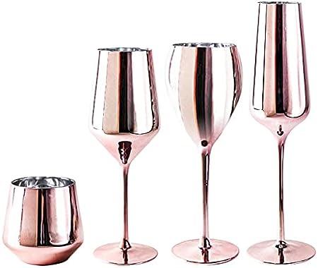 PQQ Copas de Vino Vasos soplados a Mano Copas de Cristal Chapado en Oro Rosa Copas de Agua Ideal para cata de vinos Aniversario de Bodas Juego de 2 (Color : Whiskey)