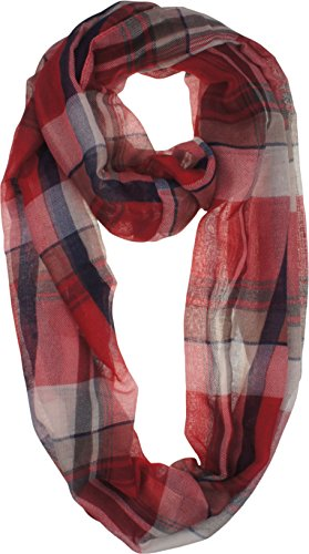 Vivian & Vincent Soft Light Elegant Solid Plaid Check Sheer Infinity Scarf (Plaid Sheer)