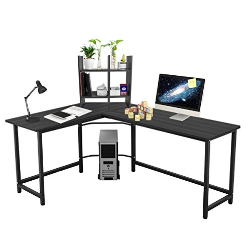 L-shaped Large Computer Desk Table Office Laptop PC Workstation with Free CUP Stand and Storage Shelf (Black) ()