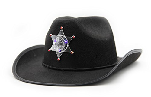 Play Kreative Kids Blinking Cowboy Cowgirl Flashing LED Sheriff Dress Up Hat  Black 491c1c1ec730