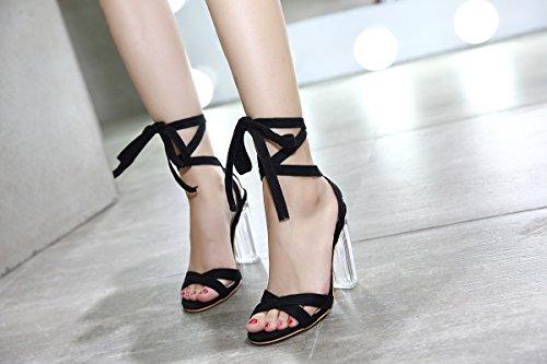 tacco piedi UE grandi alto con RUGAI i trasparenti semplici anelli grandi Sandali donna black da per e w4qFttBUCx