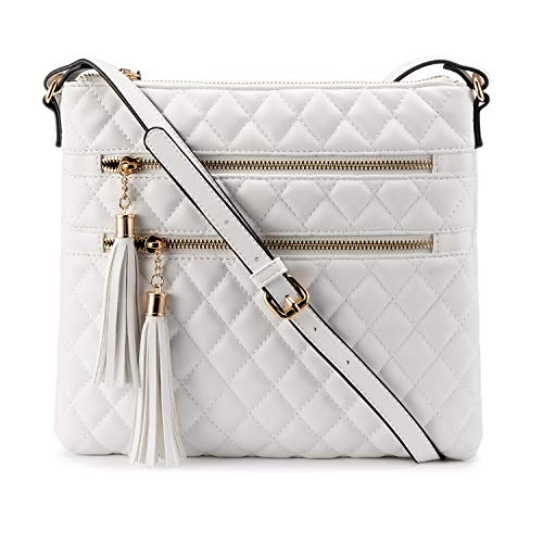 LOVEVOOK Crossbody Bags for Women purses and handbags Cross Over the Shoulder Purse leather crossbody bags for women White