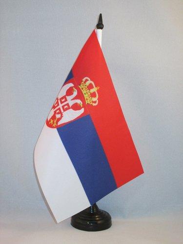 AZ FLAG Bandiera da Tavolo Serbia 21x14cm - Piccola BANDIERINA SERBA 14 x 21 cm