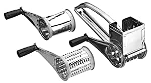 BleuMoo Kitchen Craft Rotary Stainless Steel Cheese Grater 3 Drums Slice Shred