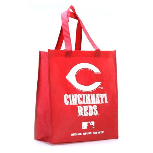 Cincinnati Reds Printed Non-Woven Polypropylene Reusable Grocery Tote Bag
