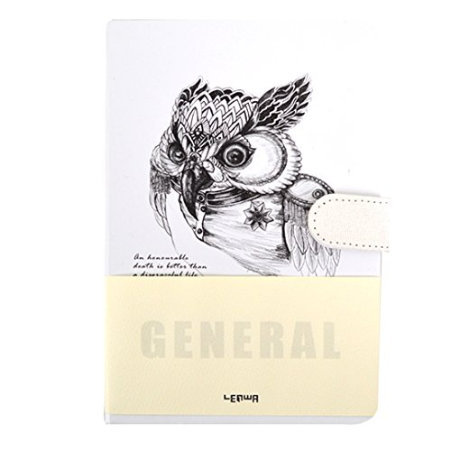 Kennedy Personaity Hardcover A5 Notebook With Magnetic Buckle Owl Illustration Journal Travel Diary(medal)
