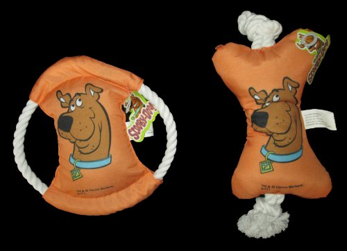 "Scooby Doo 7"" Orange Stuffed Bone & Disk Rope Dog Toy's - 2 Piece"