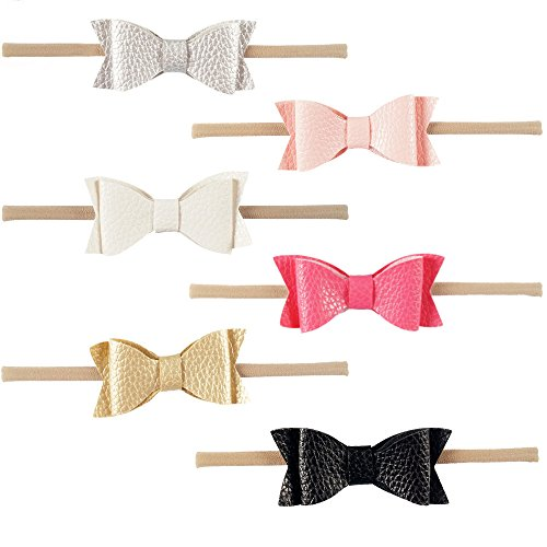 COUXILY Baby's Nylon Headband with Elastic Band Bow for Party Photograph (6,PU02)