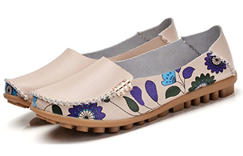 Auspicious beginning Comfy Flower Printed Flat Moccasins Driving Shoes Pregnant Women Shoes Beige wFnQYKyg