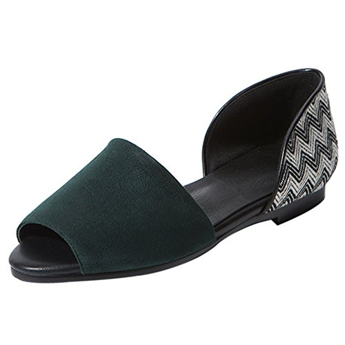 COOLCEPT Mujer Moda sin Cordones Sandalias Plano Peep Toe Zapatos Tamano Verde