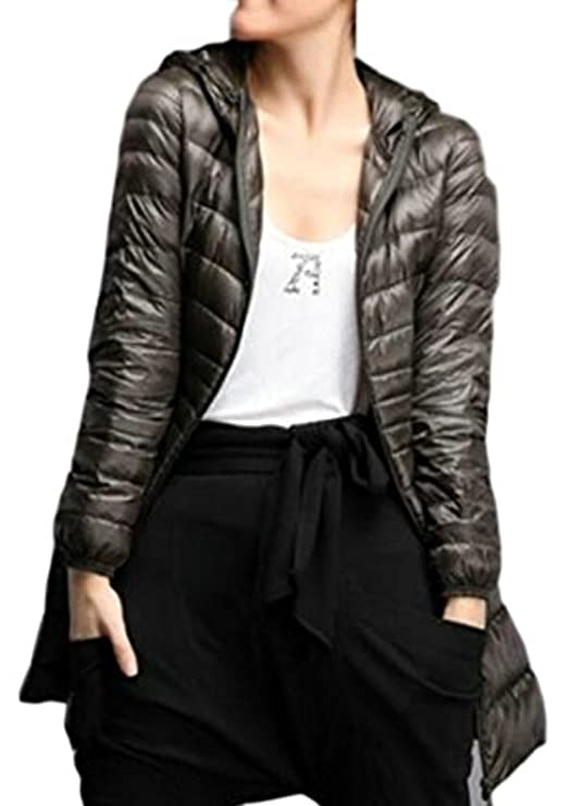 Sleeve Long Puffer Warm Down Ouxiuli Women Coat Zipper Light Thicekn FP5wExEq1