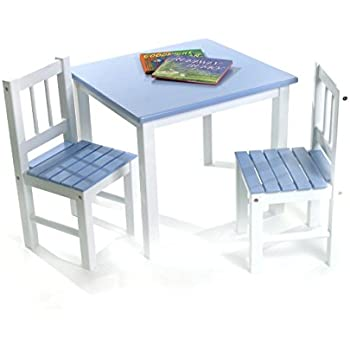 Lipper International 513BL Childu0027s Table And 2 Chairs, Blue And White