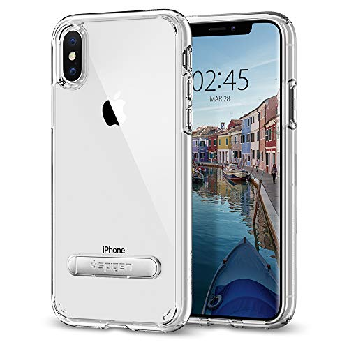 Spigen iPhone X Case, [Ultra Hybrid S] iPhone X Case Cover with Air Cushion Technology and Magnetic Metal Kickstand for iPhone X (2017) - Crystal Clear