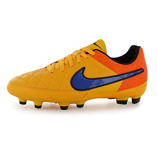 Nike Youth Tiempo Genio Leather Firm Ground (Laser Orange/Total Orange/Volt/Persian Violet) (6Y)