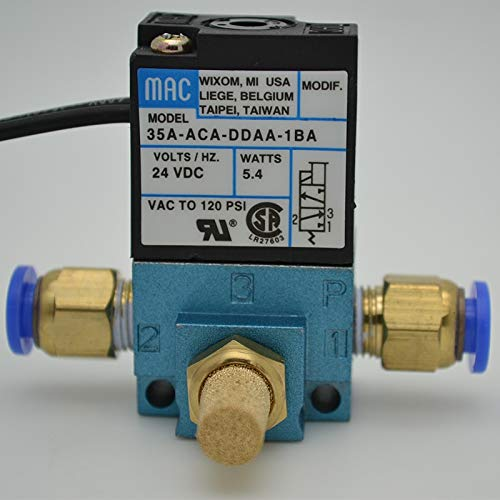 Fevas ping MAC High Frequency Solenoid Valve Include Fitting+Silencer Used in Marking Machine Dispenser - (Specification: DDAA 5.4W DC24V)