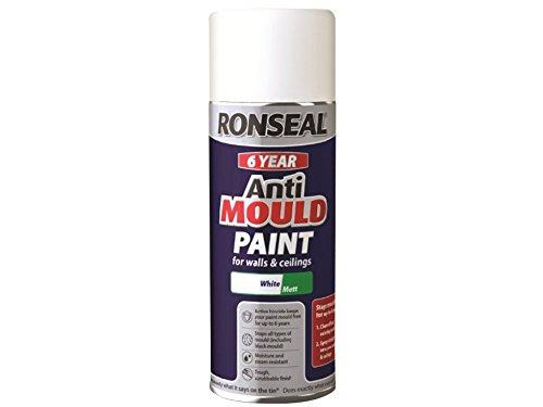 Ronseal qdamawm 400 ml 6 Añ o antimoho aerosol pintura, acabado mate, color blanco
