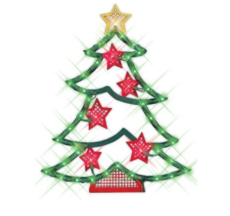 NorthLight 18 in. Lighted Christmas Tree With Stars Window Silhouette Decoration