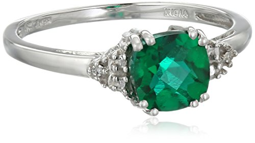 10k White Gold May Birthstone Created Emerald and Diamond Ring, Size 6