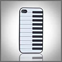 Flexa by CellXpressions™ Piano Keyboard on Black flexible silicone soft skin case cover for Apple iPhone 4 4G 4S
