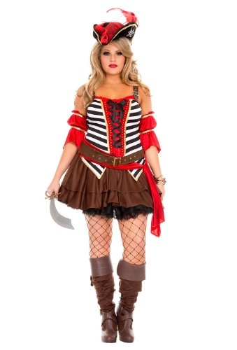[MUSIC LEGS Plus-Size Private Pirate, Brown, XXX-Large/XXXX-Large] (Plus Size Sexy Pirate Costumes)