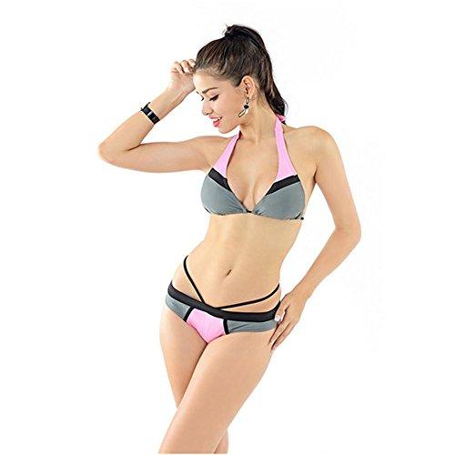 Sra. Bikini colgando cuello traje de baño hueco pink gray