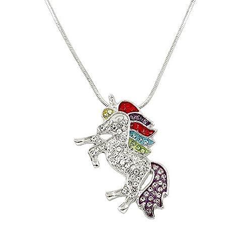 Unicorn Pendant Necklace Rhinestone Crystal Rhodium High Polished J0132 - Crystal Unicorn