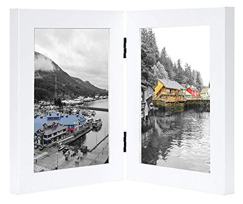 Golden State Art, Decorative Hinged Table Desk Top Picture Photo Frame, 2 Vertical Openings, 5x7 inches with Real Glass(5x7 Double, White)