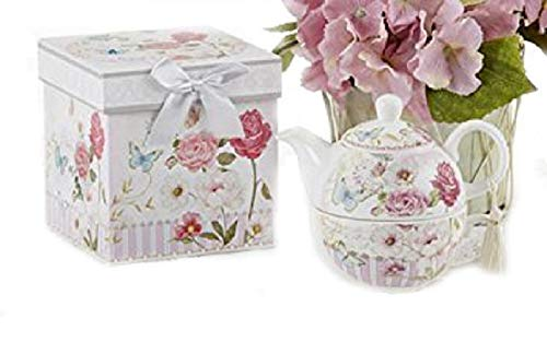 (Delton Products Pink Grace Pattern Porcelain Tea for One with Matching Keepsake Box)