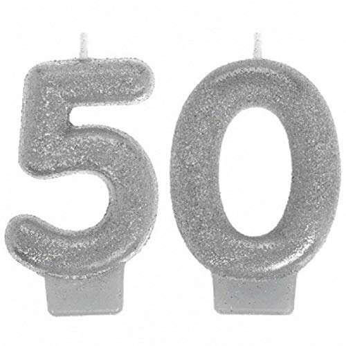 Amscan 170291 Sparkling Celebration 50 Numeral Candles, 3