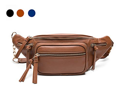 Leather Fanny Packs For Women By Miss Fong, Belt Bag For Women, Wasit Bag, Bum bag, Travel Fanny Pack With 9 Pockets (Brown)
