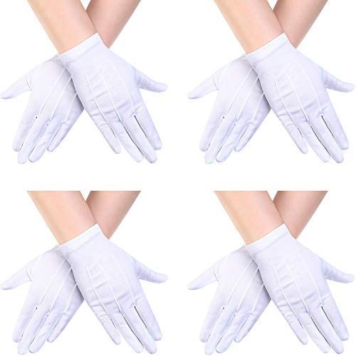 Fancy Dress Pairs (4 Pairs Child Nylon Gloves Formal Gloves White Dress Gloves for Kids Costume Gloves Art Show, Uniform Party,)