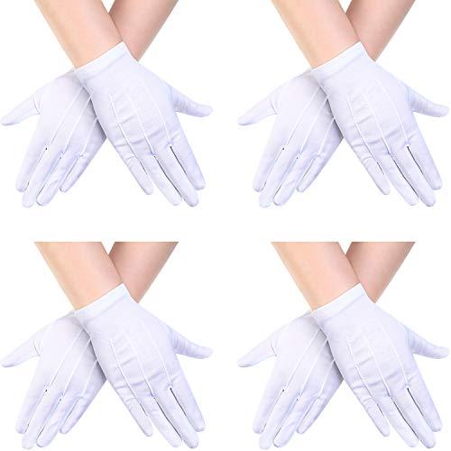 4 Pairs Child Nylon Gloves Formal Gloves White Dress Gloves for Kids Costume Gloves Art Show, Uniform Party, -