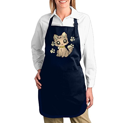 Dogquxio Cute Cat Kitchen Helper Professional Bib Apron With 2 Pockets For Women Men Adults Navy
