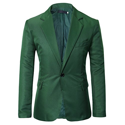 (YUNCLOS Men's Slim Fit Casual One Button Notched Lapel Blazer Jacket Green)
