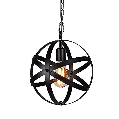 (Industrial Metal Pendant Light, Spherical Pendant Light, Rustic Chandelier Vintage Hanging Cage Globe Ceiling Light Fixture for Kitchen Island Dining Room Farmhouse Entryway Foyer Table Hallway)