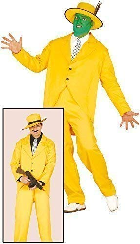 Mens Yellow 1920s Gangster The Mask 1990s Comedy TV Film Halloween Fancy Dress Costume Outfit (Large) -