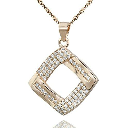 Daesar Sterling Silver Women's Necklace Hollow Square Frame Pave CZ Rose Gold Pendant Necklace for - Eyeglass Gold 14k Frames