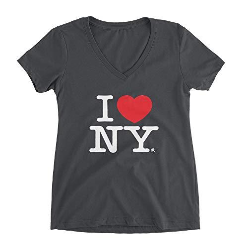 I Love Ny - I Love NY Charcoal V-Neck T-Shirt Spandex Ladies Heart New York Womens Tee (Medium)