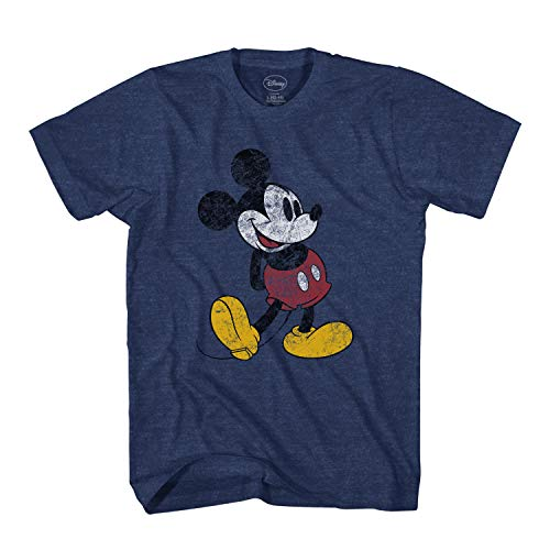 Disney Mickey Mouse Classic Distressed Standing T-Shirt (Indigo Black,Medium)