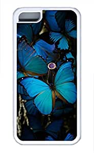 iPhone 5c case, Cute Beautiful Blue Butterfly 2 iPhone 5c Cover, iPhone 5c Cases, Soft Whtie iPhone 5c Covers