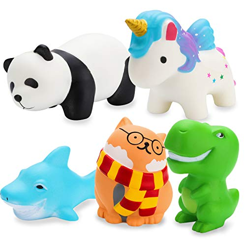 R HORSE Squishy Toys, 4.5in Panda / Fox + 4.5in Shark + 3.5in Dinosaur + 4.7in Unicorn + 4in Glasses Cat, Animal Soft Cream Scented Squishy Stress Relief Squeeze Toys for Kids Adults (Random 5 Packs)