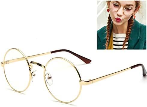 Littlegrass Round Circle Frame Vintage Large Clear Lens Glasses Prescription Ready Metal Brown Black Silver Gold