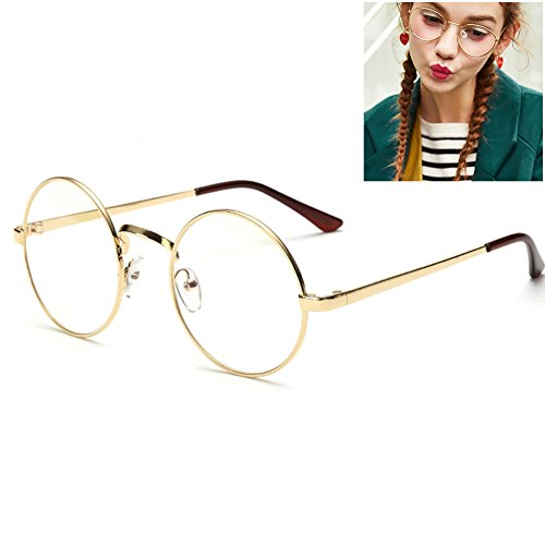 Littlegrass Round Circle Frame Clear Lens Glasses Vintage Oversized Metal Brown Black Silver Gold (Gold) - Circle Lenses