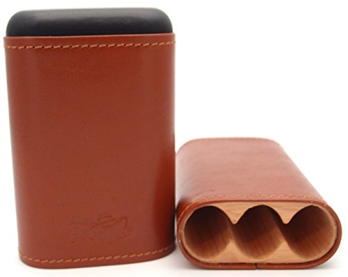 Robusto Leather Cigar Holder - Inside Cedar Wood Compartments - Authentic Full Grade Buffalo Hide Leather - Tan (Robusto Humidor)