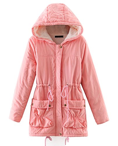 - Chartou Women's Lovely Thicken Zip-Fly Hooded Lambswool Fleece Lined Long Jacket Coat Outwear (X-Large, Pink)