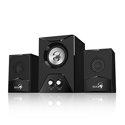 Genius Gaming Speaker SW-G2.1 500-2.1 Channel Wooden Subwoofer Speaker with Deep Bass/RMS 15 Watts/Crystal Clear Sound for PC, Desktops, Mac, Laptops, Game Consoles, Tablets & Smartphones