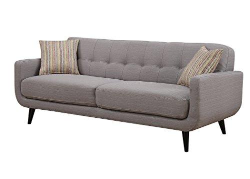 Christies Home Living Crystal Fabric Mid Century Sofa, Gray