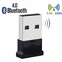 Bluetooth USB Adapter, USB 4.0 Bluetooth Dongle with 2.4GHz 165ft for Laptop PC, Support Windows 10/ 8.1/ 8/ 7/ Vista/XP